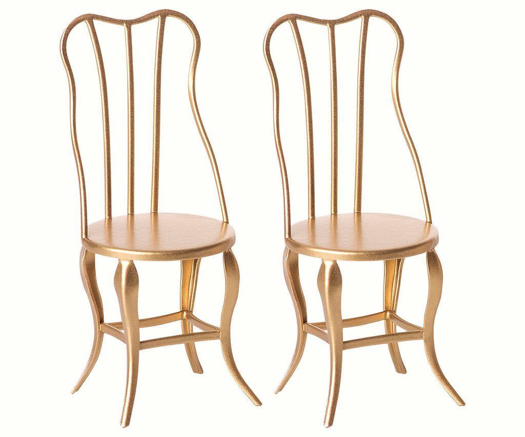 Maileg 2 x Gold Vintage Chairs Micro