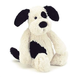 Jellycat Bashful Black & Cream Puppy, Size: approx: 31cm
