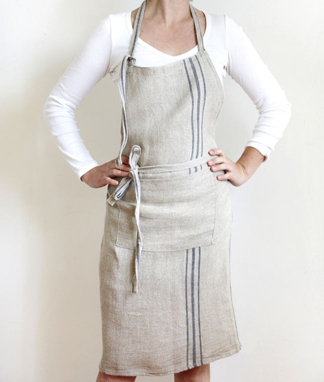 Ladies Full Linen Apron with Blue Stripe