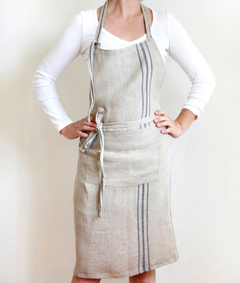 Full Linen Apron with Blue Stripe