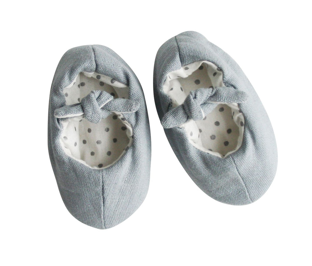 Bobby Baby Linen Slippers - in Grey Linen