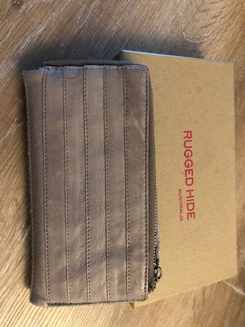 Rugged Hide Ladies Leather Wallet - Katie in Mushroom Colour