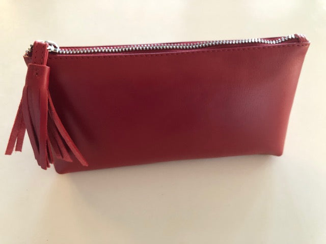 Oran Leather FLIRT Make Up Case/Purse With Tassel in Red Colour