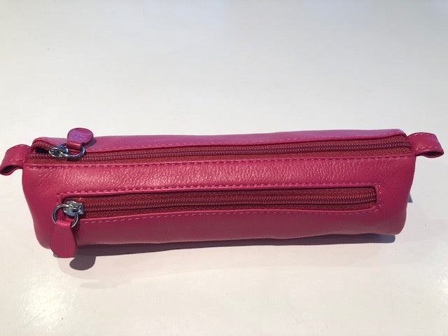 Oran Leather Pencil Case in Pink Colour