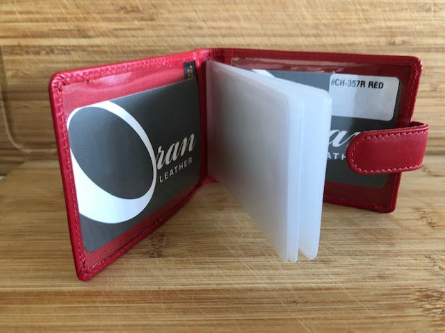 Oran Leather Card Holder - Red in Colour