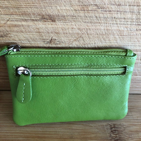 Oran Leather Key Case and Coin Purse in Lime Green Colour