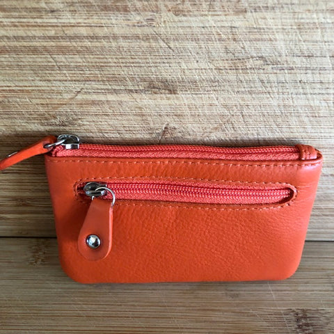 Oran Leather Key Case and Coin Purse in Orange Colour
