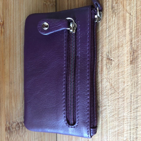 Oran Leather Key Case and Coin Purse in Purple