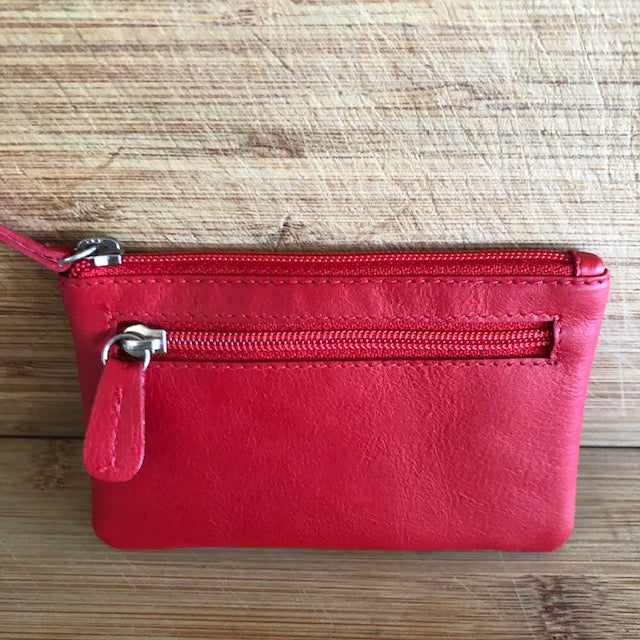 Oran Leather Key Case and Coin Purse in Red Colour