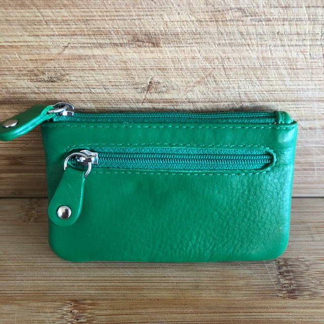 Oran Leather Key Case and Coin Purse in Emerald Green