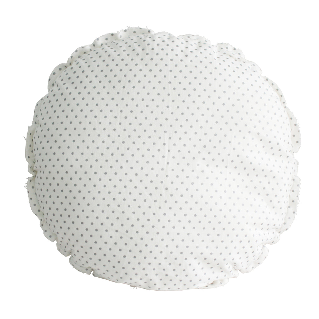 Penny Round Cushion in Ivory & Silver Spot 30cm