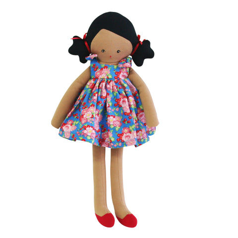 Doll - Willow Doll In Pretty Blue & Red/Pink Floral Dress, 32cm
