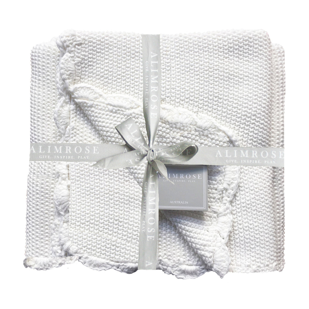 Baby Blanket in Knit Mini Moss Stitch, 100% Cotton in Ivory Colour - Size: 100cm x 100cm