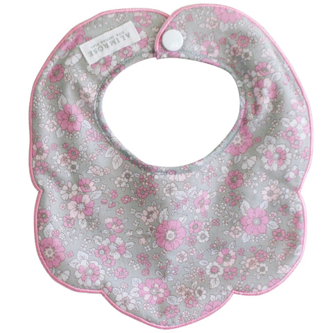 Bib - Collar Scallop Bib in Grey Floral