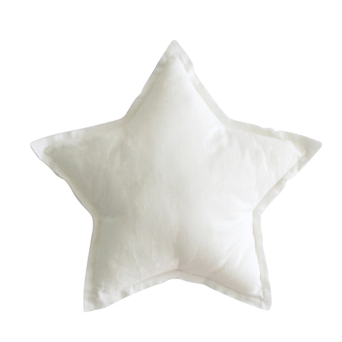 Linen Star Pillow in Ivory - 40cm