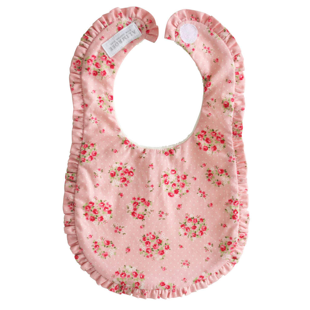 Bib - Ruffle Edge Bib in Pink Floral Wreath Pattern Fabric