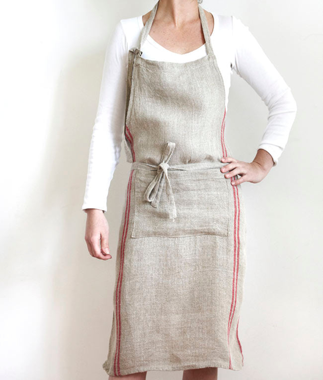 Ladies Full Linen Apron with Red Stripe