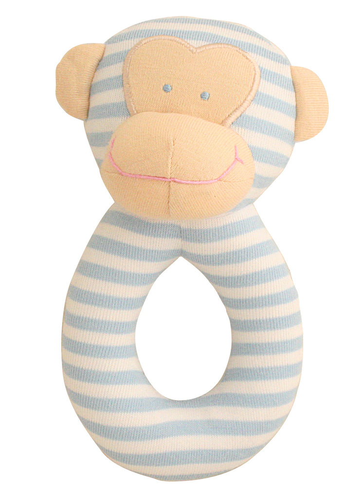 Rattle, Monkey Grab Rattle in Blue & White Stripes, 16cm