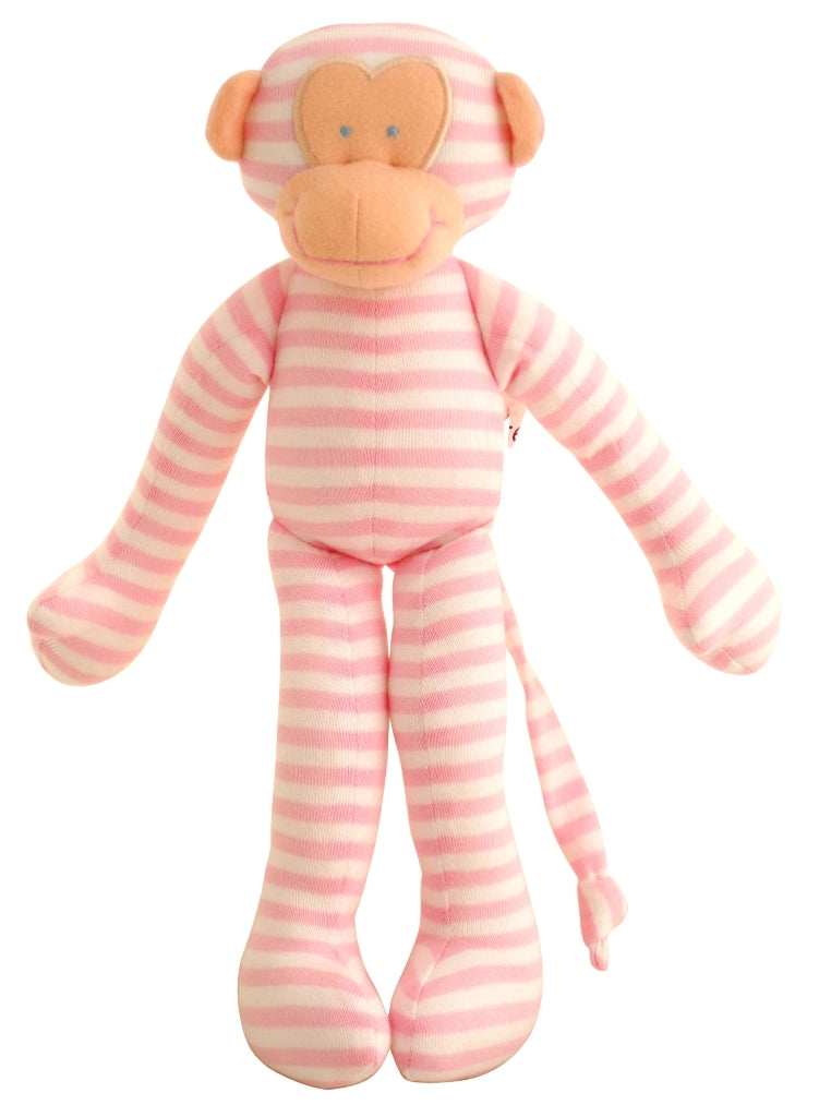 Rattle, Monkey Rattle - Pink & White Stripe, 30cm