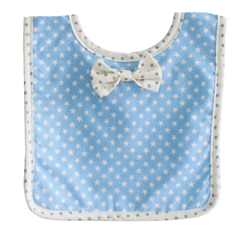 Bow Tie Bib in Blue with White Star Fabric
