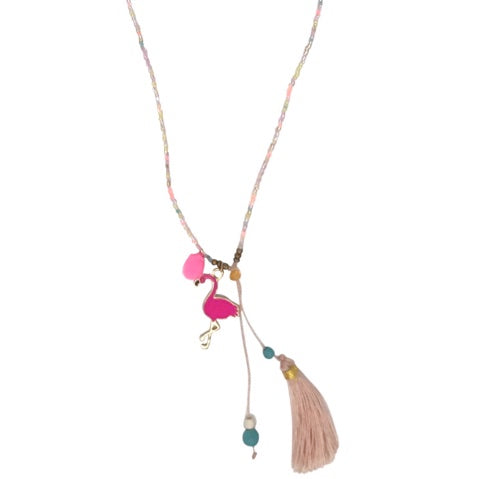 Kids Necklace - Neon Pink Flamingo