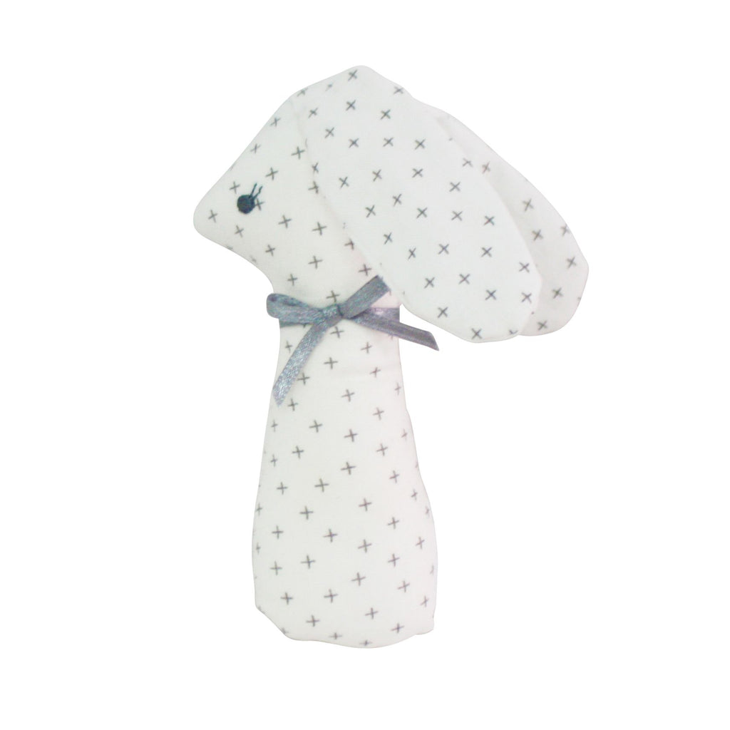 Bunny Rattle in Grey Cross Pattern 12cm