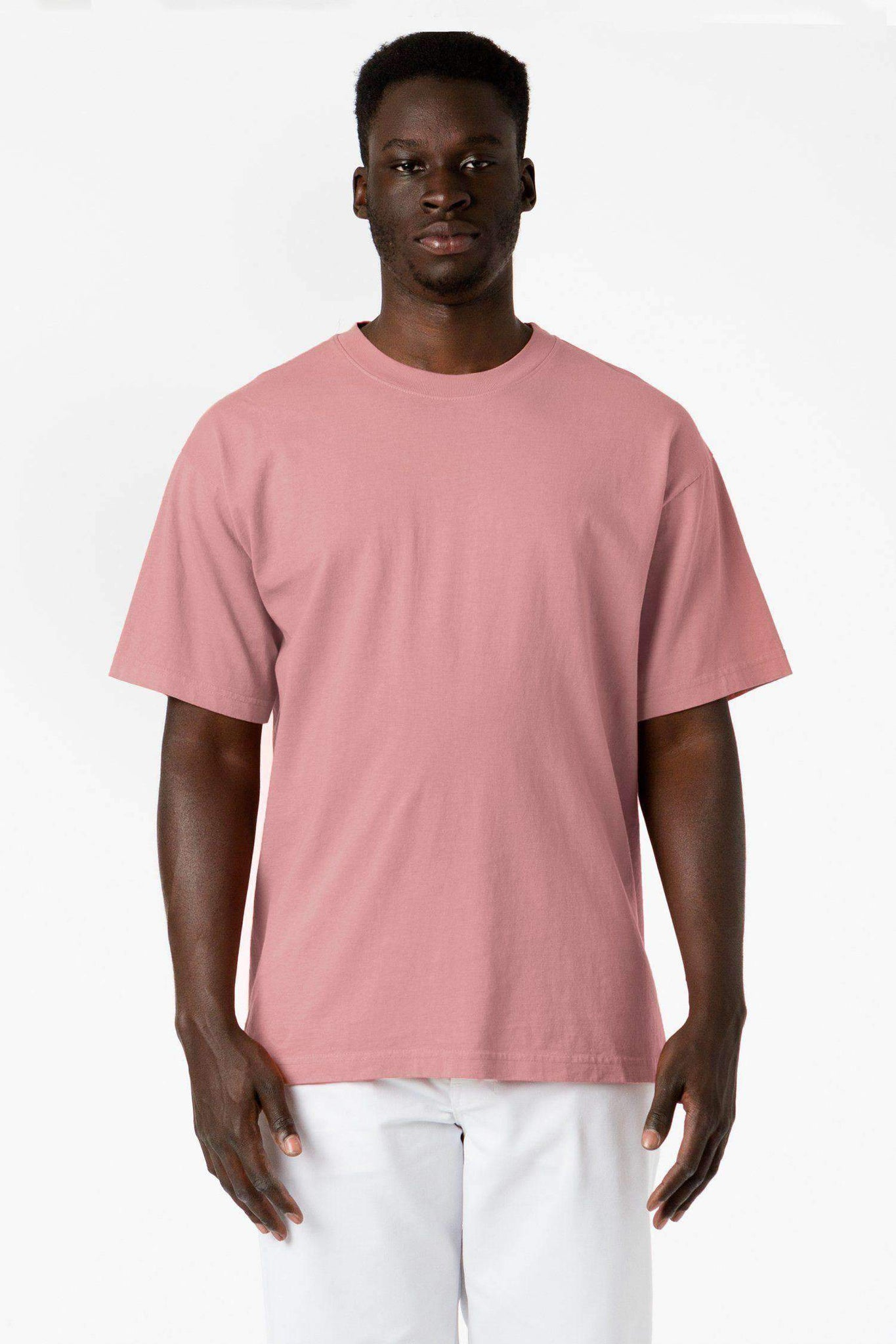 1801GD - 6.5oz Garment Dye Pastel Crew Neck T-Shirt T-Shirt Los Angeles Apparel Coral S
