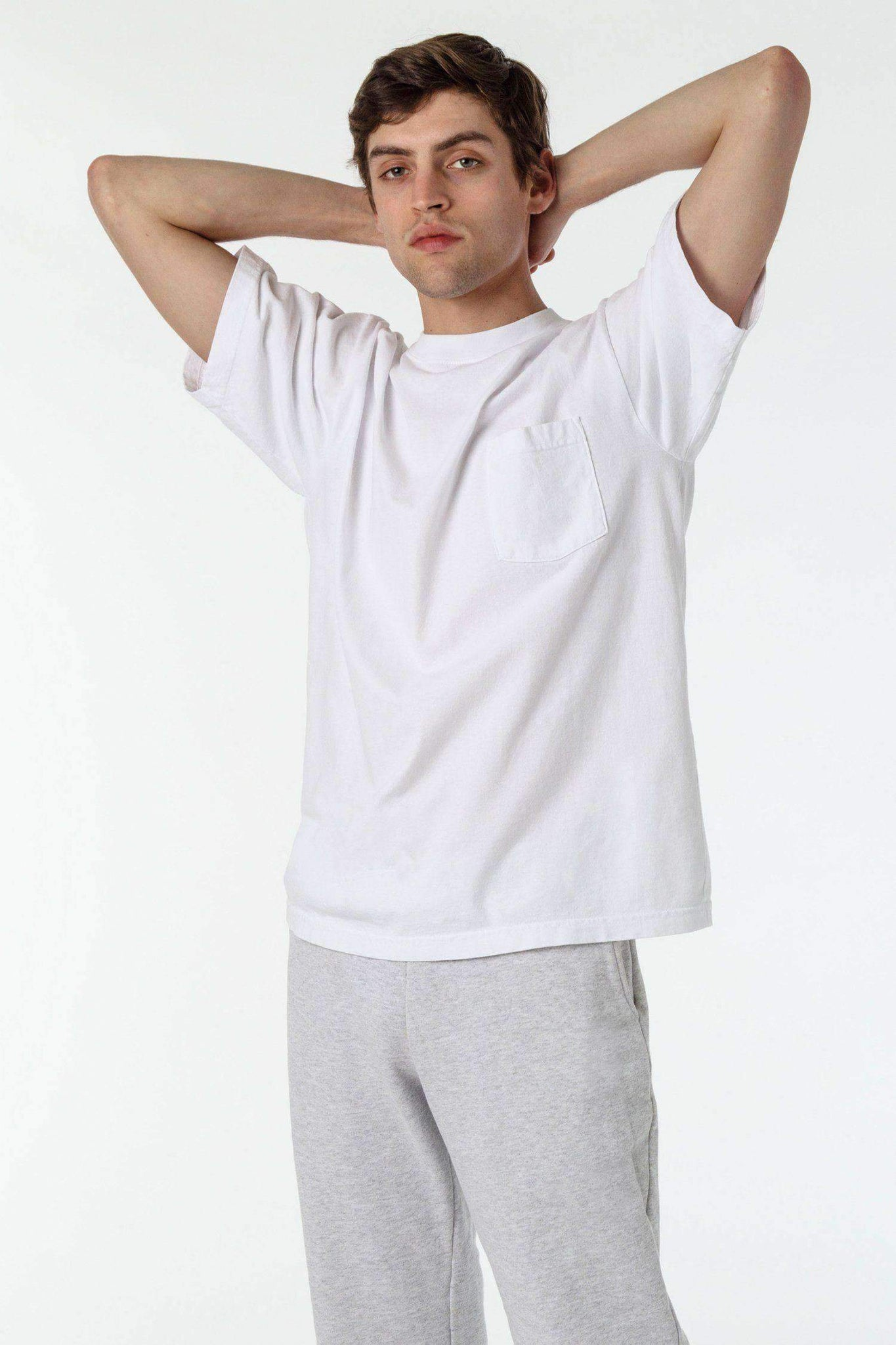 1809GD - Short Sleeve Garment Dye Pocket T-Shirt T-Shirt Los Angeles Apparel White XS