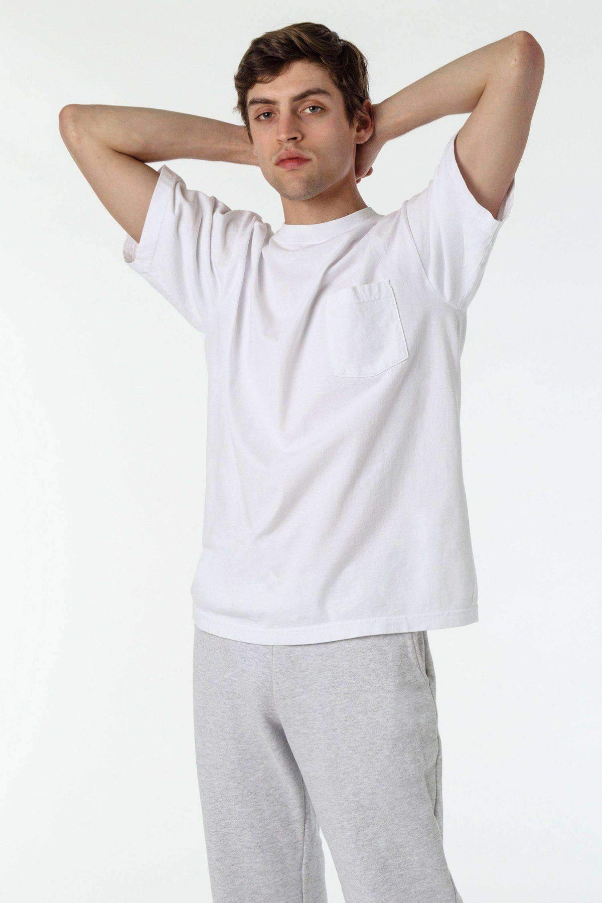 1809GD Mix - Short Sleeve Garment Dye Pocket T-Shirt T-Shirt Los Angeles Apparel White XS
