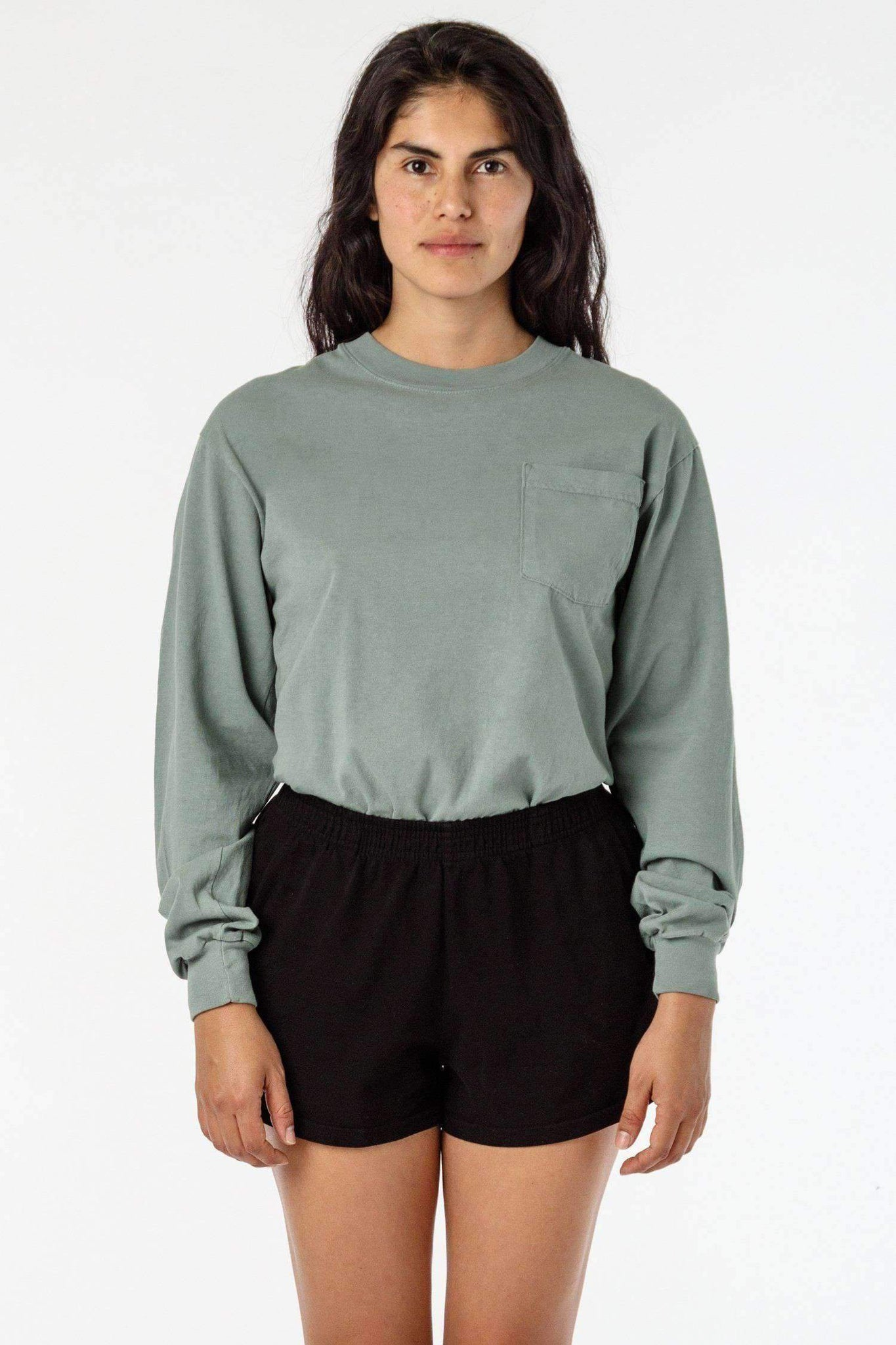 1810GD Unisex - Long Sleeve Garment Dye Pocket T-Shirt T-Shirt Los Angeles Apparel Atlantic Green XS