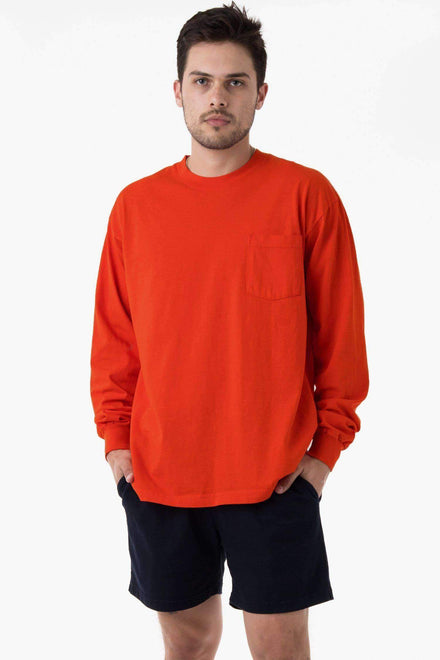 1810GD - Long Sleeve Garment Dye Pocket T-Shirt T-Shirt Los Angeles Apparel Bright Orange XS