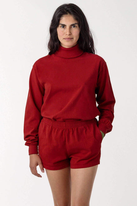1811GD Mix - Long Sleeve Garment Dye Turtleneck T-Shirt Los Angeles Apparel Dark Red XS