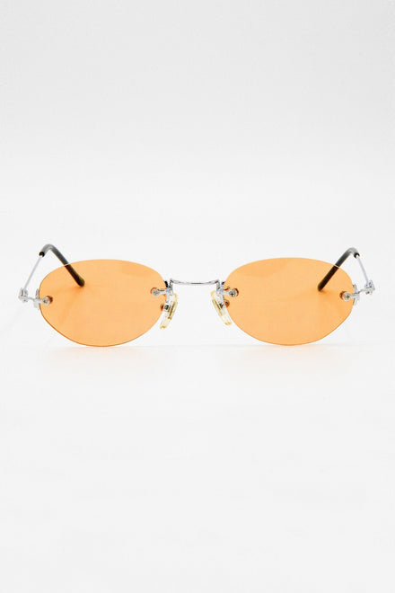 SGSTACY - Rimless Metal Frame Oval Sunglasses