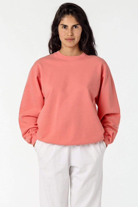 MWT07GD Unisex - Long Sleeve Garment Dye French Terry Pullover Sweatshirt Los Angeles Apparel Salmon XS