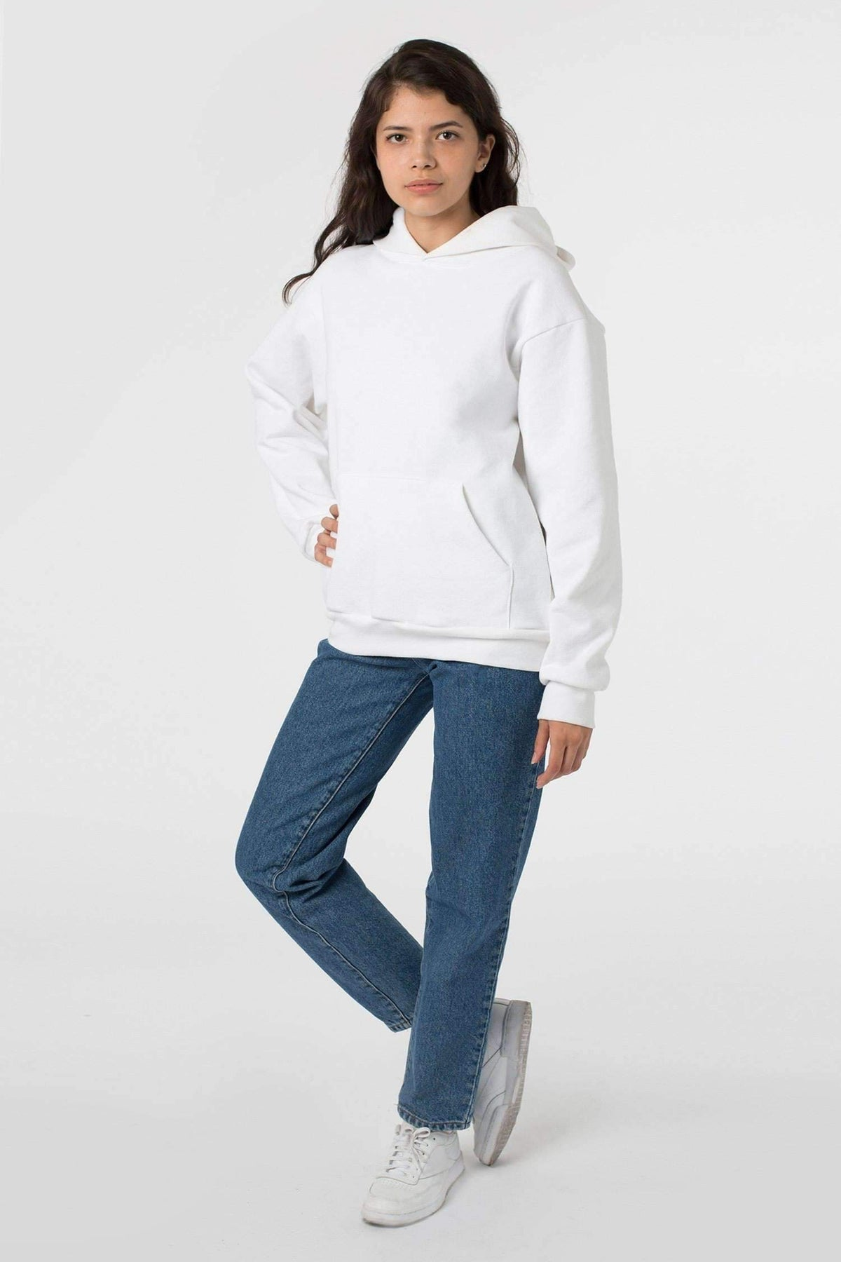 HF09 Mix - 14oz. Heavy Fleece Hooded Pullover Sweatshirt Sweatshirt Los Angeles Apparel White XS
