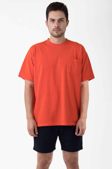 1809GD - Short Sleeve Garment Dye Pocket T-Shirt T-Shirt Los Angeles Apparel Bright Orange XS