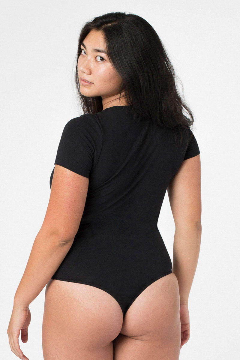 B115CTS - Short Sleeve Thong Bodysuit Bodysuits Los Angeles Apparel Black XS