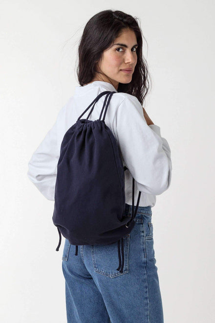 BD09 - Bull Denim Drawstring Backpack Bags Los Angeles Apparel Navy