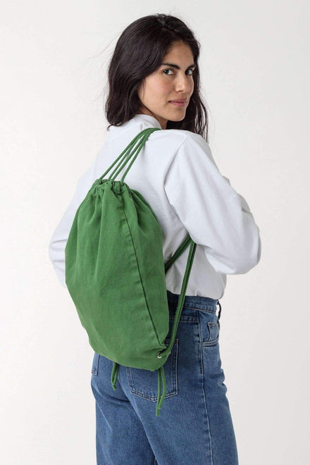 BD09 - Bull Denim Drawstring Backpack Bags Los Angeles Apparel Vintage Green