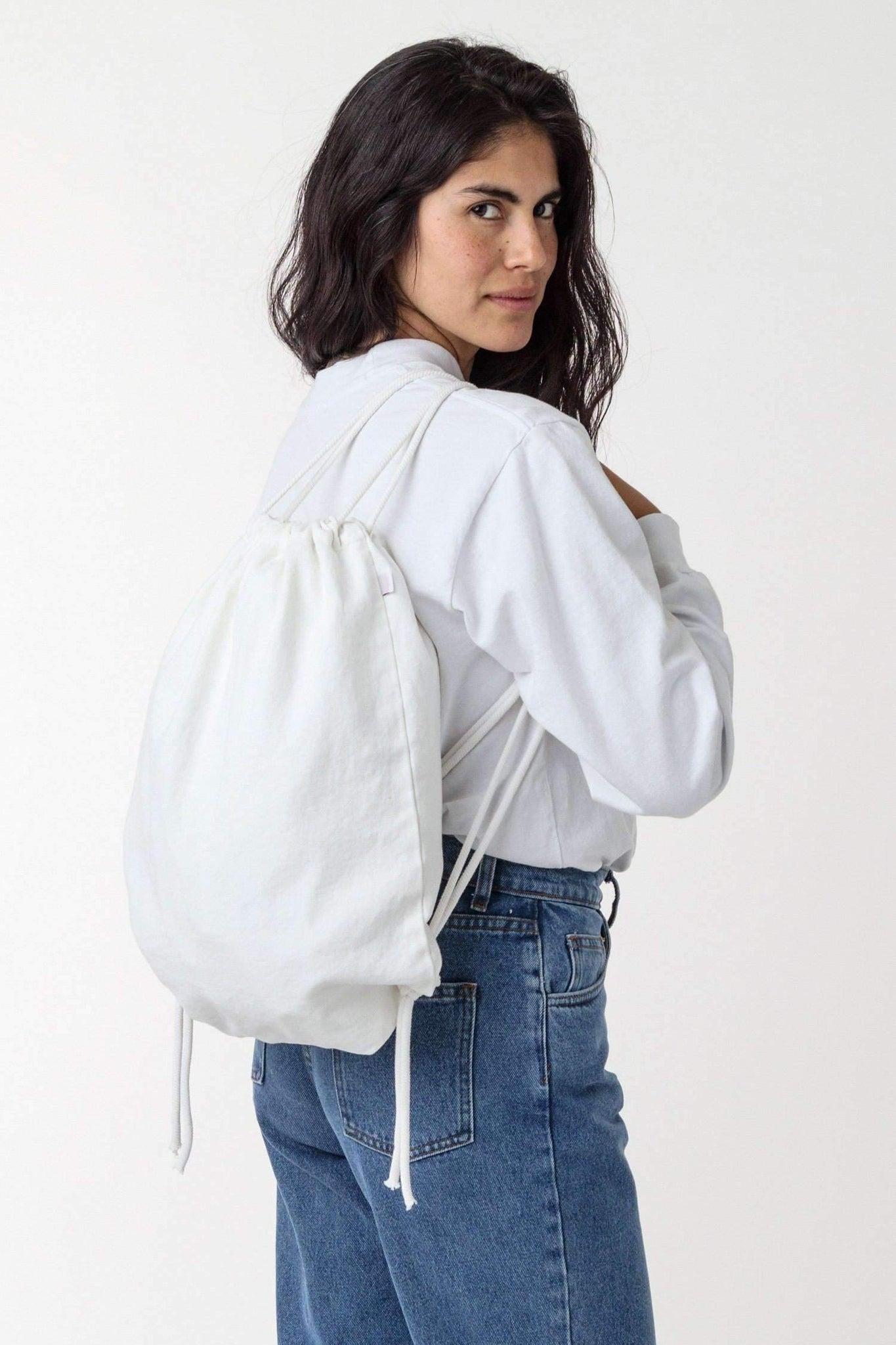 BD09 - Bull Denim Drawstring Backpack Bags Los Angeles Apparel Off-White
