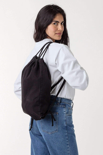 BD09 - Bull Denim Drawstring Backpack Bags Los Angeles Apparel Black