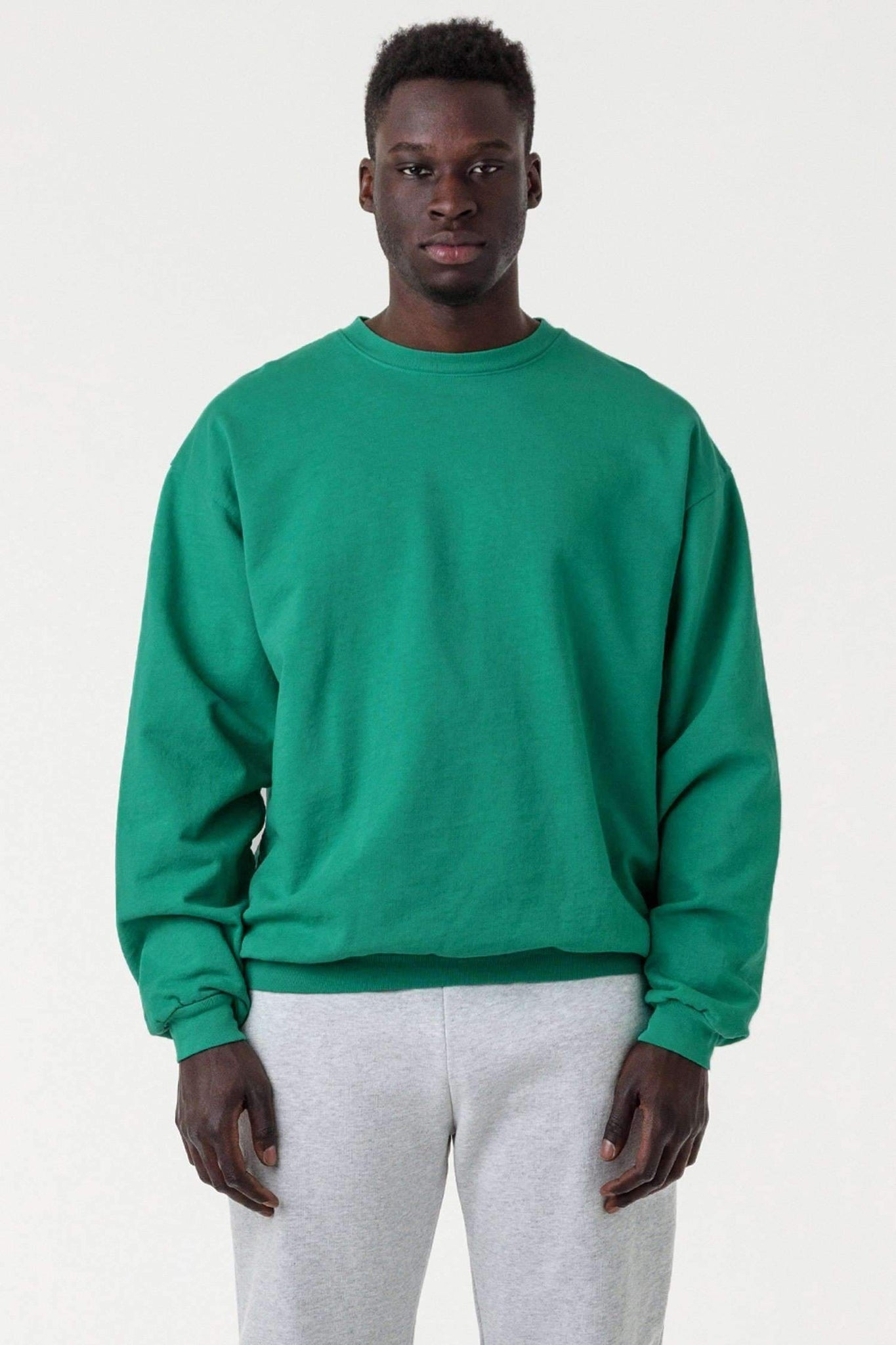 MWT07GD - Long Sleeve Garment Dye French Terry Pullover Sweatshirt Los Angeles Apparel Emerald XS