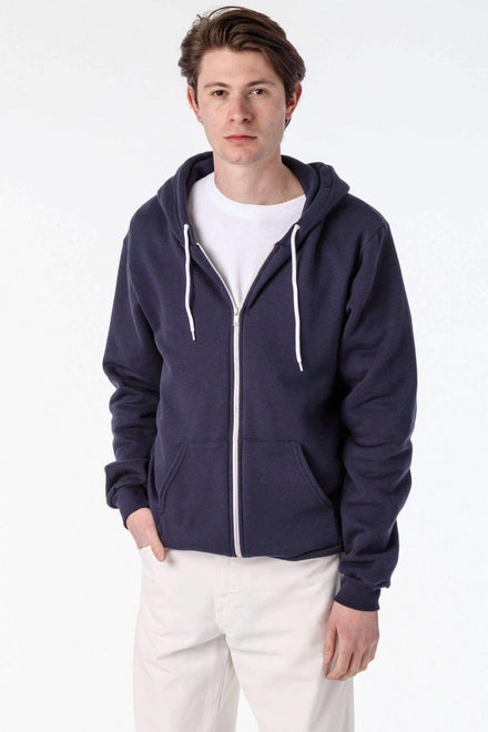 F97 - Flex Fleece Zip Up Hoodie Sweatshirt Los Angeles Apparel Navy XS