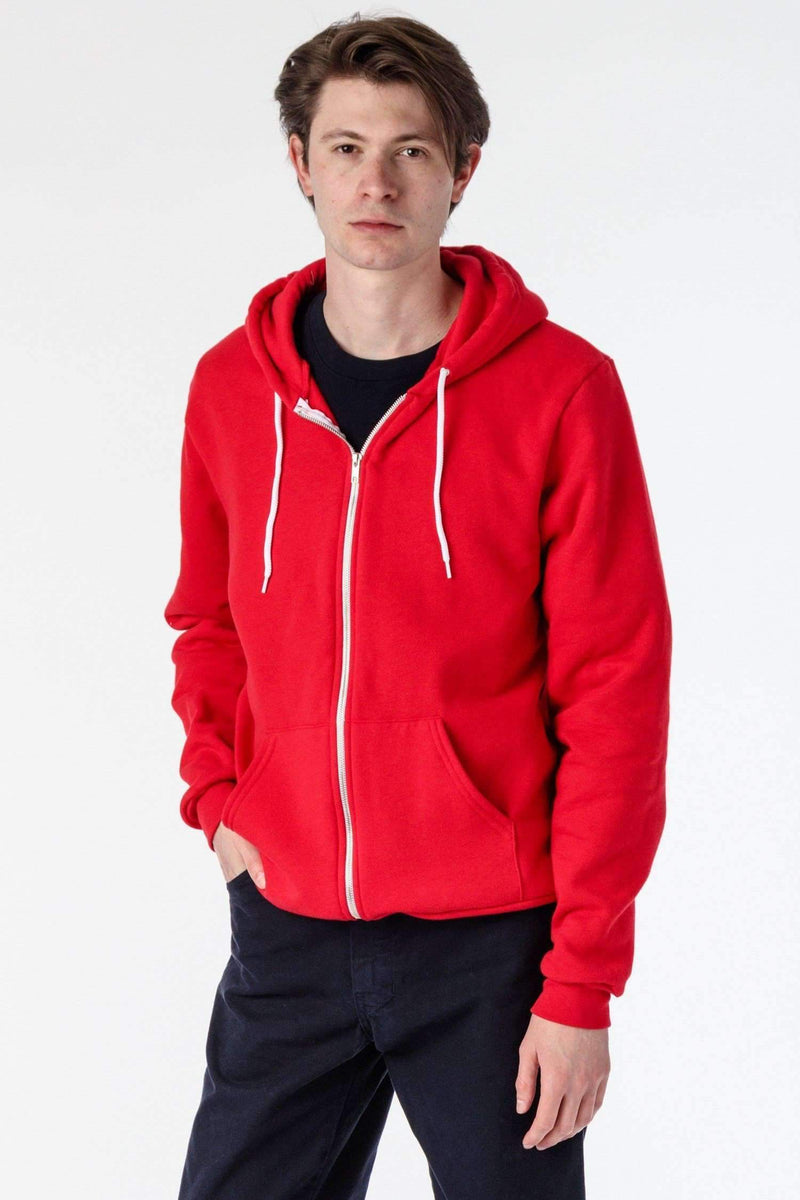 F97 - Flex Fleece Zip Up Hoodie Sweatshirt Los Angeles Apparel Red XS