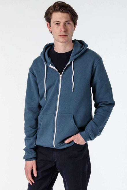 F97 - Flex Fleece Zip Up Hoodie Sweatshirt Los Angeles Apparel Sea Blue XS