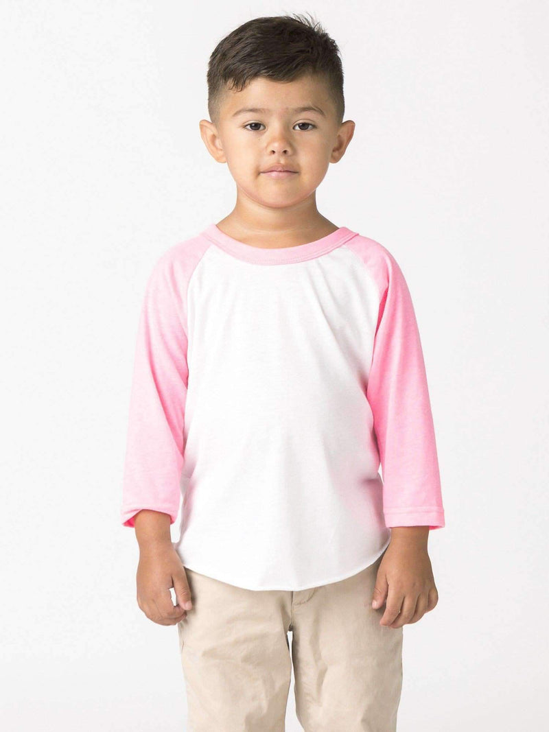 FF1053 - Toddler 3/4 Sleeve Poly Cotton Raglan Kids Los Angeles Apparel White/Neon Heather Pink 2