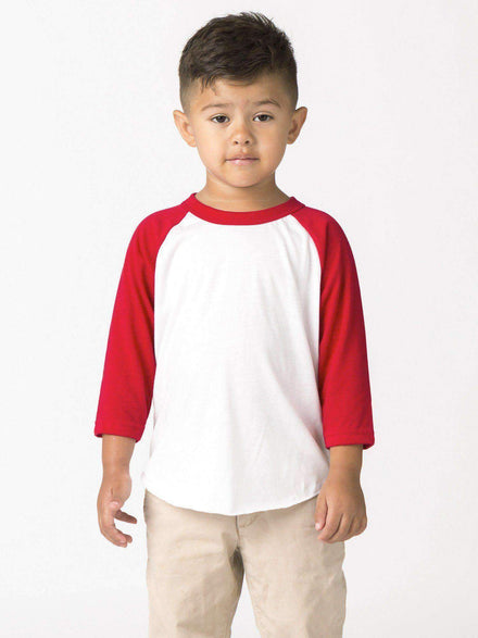 FF1053 - Toddler 3/4 Sleeve Poly Cotton Raglan Kids Los Angeles Apparel White/Red 2