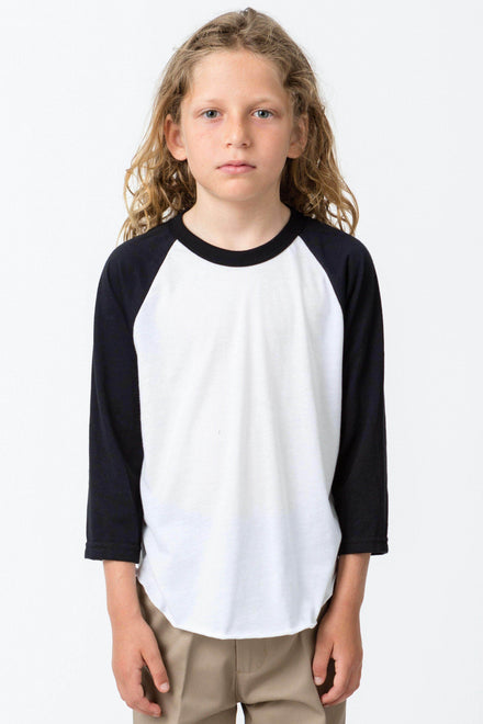 FF2053 - Youth 3/4 Sleeve Poly Cotton Raglan Kids Los Angeles Apparel