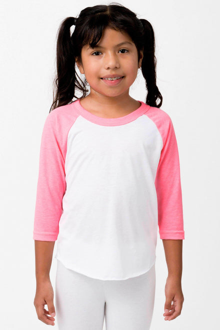 FF2053 - Youth 3/4 Sleeve Poly Cotton Raglan Kids Los Angeles Apparel White/Neon Heather Pink 8