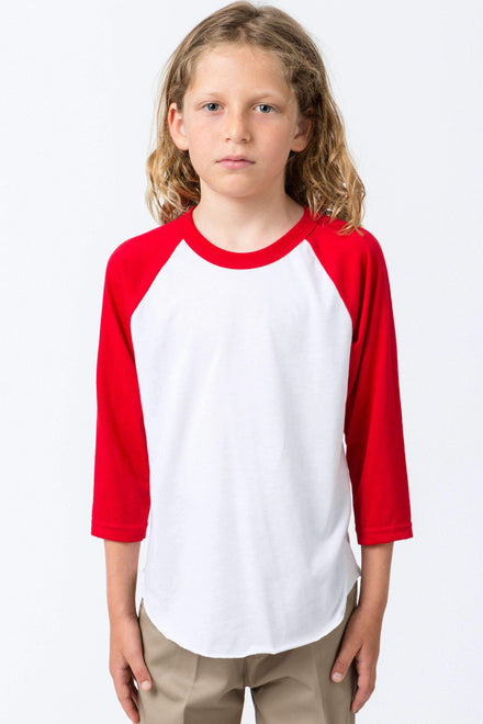 FF2053 - Youth 3/4 Sleeve Poly Cotton Raglan Kids Los Angeles Apparel White/Red 8